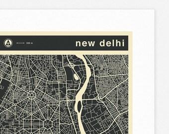 NEW DELHI MAP (Giclée Fine Art Print, Photographic Print or Poster Print) mono version