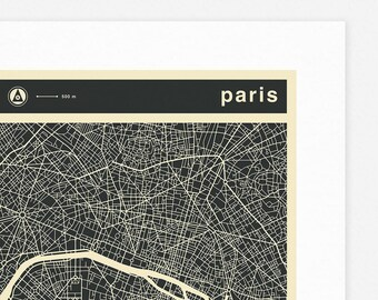 PARIS MAP (Giclée Fine Art Print, Photographic Print or Poster Print) mono version