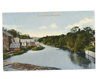 vintage Scottish postcard view of the River Ericht at Blairgowrie, 1922