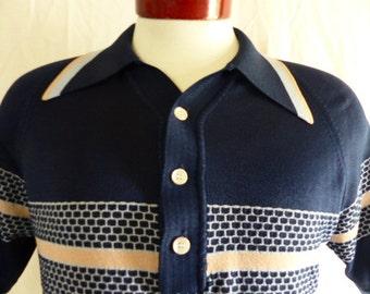 vintage 60s 70s Donegal Coleseta colorblock blue black grey beige textured knit polo shirt raglan honeycomb pattern horizontal stripe medium