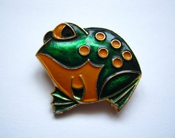 Old vintage soviet USSR pin badge Frog #2