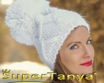 SuperTanya white hand knitted hat, thick and fuzzy mohair beanie with big pom