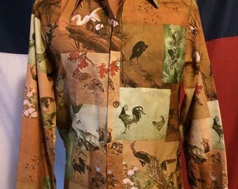 Vintage 70's polyester photo print shirt