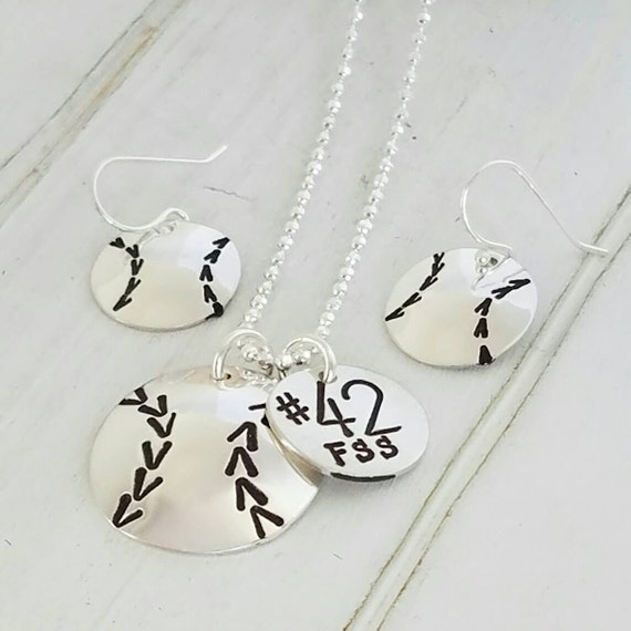 Softball Necklace Set, Badeball Necklace Set, Sterling Silver Hand Stamped Custom Made Personalized Sports Necklace and Earring set