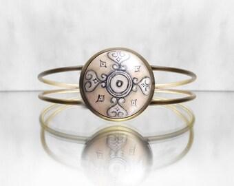 Beige Bracelet, Hand Painted Bracelet, Original Painting Jewelry, Adjustable Cuff Bracelet