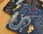 Bamboo Joint Japanese Kimono Cotton Fabric, Vintage Dragons Lightning On Dark Blue Black- 1/2 yard
