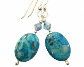 Natural Blue Agate Oval Stone earrings with Aqua blue Swarovski crystal, Sterling Silver ear wires