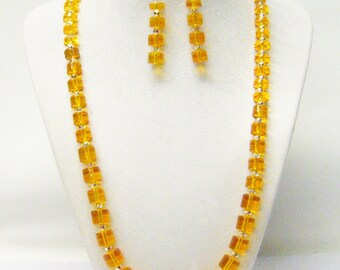 Multiple Shapes Light Orange Transparent Glass Bead Necklace/ Bracelet/Earrings Set