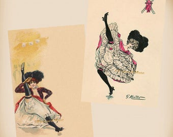 French Can Can Dancer - 2 New 4x6 Vintage Postcard Image Photo Prints - RA62-71