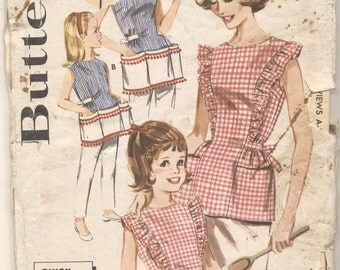 Vintage Butterick Pattern 2518 Mother Daughter Aprons