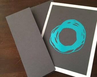 "Enso Minimalist Metallic Foil Print Blank Greeting Cards - set of 4 - Grey Cardstock - A2 - 4.25""x5.5"""