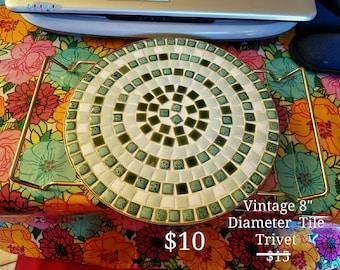 Vintage Tile Trivet with Handles