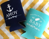 Ahoy Its a Boy baby shower can cooler, nautical baby shower favor, anchor can coolie, baby shower cooler, anchor theme shower 50 qty