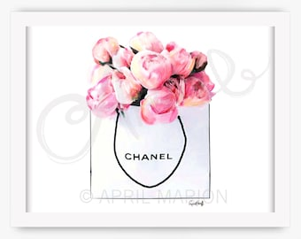 Chanel Roses Print | Fashion Illustration, CC Drawing, Flower Art, Watercolor Painting, Women, Home Decor, Red, Pink, Prada, Gucci, Style