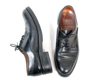 Vintage Bally France  shoes black leather oxfords us men 7.5 Fr41