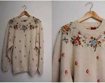 1990s oversized sweater floral embroidered Naf Naf