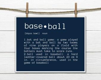 Baseball Definition - SPORTS Decor - Baseball Nursery CANVAS AVAILABLE