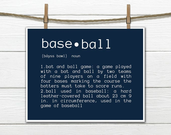 Baseball Definition - SPORTS Decor - Baseball Nursery CANVAS AVAILABLE