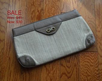 Beige and Natural Clutch, Etienne Aigner Vintage Clutch, Tan Purse, Women's Purse, Ladies' Vintage Handbag, Designer Handbag