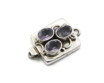 "Amethyst 925 Sterling Silver Single Strand Box Clasp Size 1"" :C218"