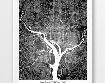 Washington, D.C. Map Print, Washington D.C. Poster Print, Washington Urban Street Digital Print, Home Nursery Room Wall Office Printable Art