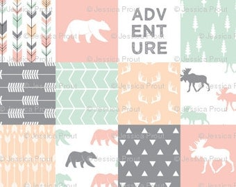 Adventure-Bear-Moose Patchwork Minky Blanket or Quilt