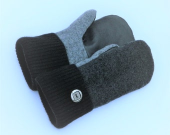 Felted Wool Mittens - Charcoal Grey/Black/Leather - Felted Sweater Mittens - Wool Mittens - Womans - Medium