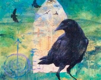 Raven's Equinox: Original Mixed Media Painting