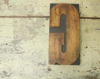 "antique HUGE letter ""G"" wood carved letterpress printing block for posters 12"" tall"