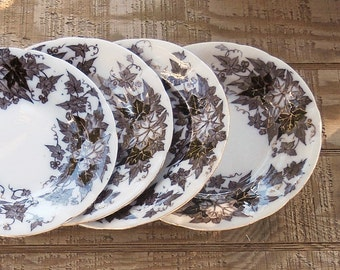 Antique French Brown Transferware Earthenware Salad Plates Set of 4, Wedding Plates,  Bryonia Sarreguemines, Ca. 1800's