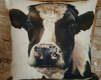 Handmade Rustic Fresian Cow Square Cushion Pillow With Or Without Inner