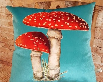 Handmade Turquoise Velvet Square Toadstool Cushion Pillow With Or Without Inner