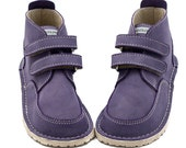 Purple leather shoes, leather lining, Vibram sole, velcro fastening/laces, support barefoot walking, sizes EU 21 to 31 - US 6 to 12.5