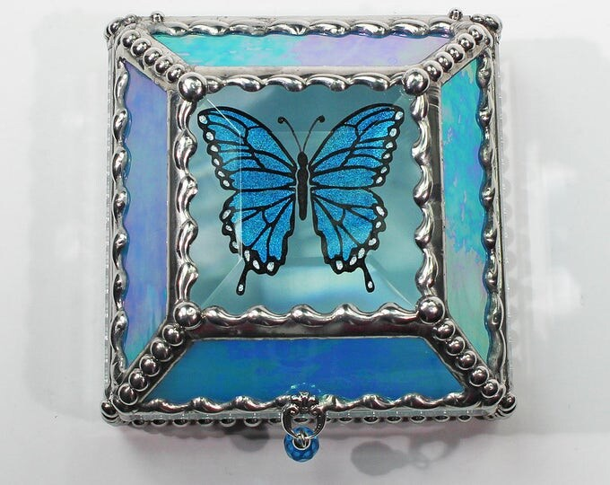 Butterfly 3X3 Hand Painted Glass Jewelry Treasure Box Hand crafted, Gift Box