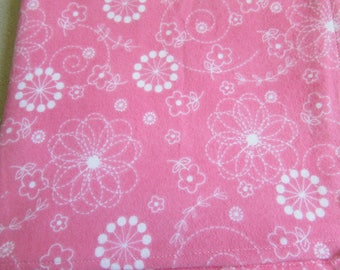 Pink Floral Large receiving blanket, swaddling blanket, flannel blanket, baby girl, pink with white flowers, reusable gift wrap