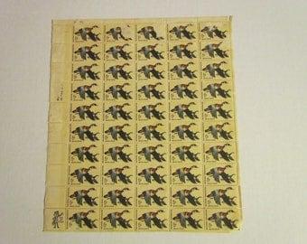 sheet of 50 6 cent U.S. postage stamps damaged