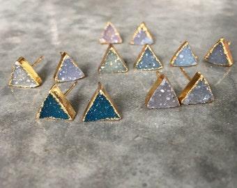 Druzy Quartz Stud earrings, triangle studs, boho wedding, boho style, boho chic