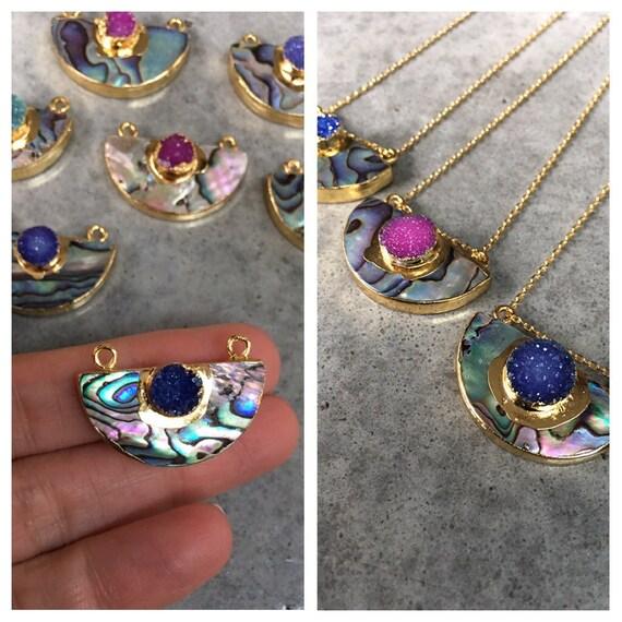 Abalone Druzy necklace