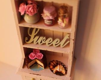 Shabby chic  romantic Paris cabinet,eiffel tower,croissant,roses,ceramic,cake,chocolate,coffee-miniature dollhouse12th scale