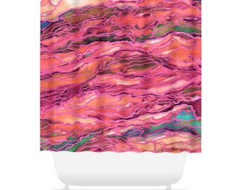 MARBLE IDEA, MIAMI, Girly Pink Rainbow Nature Abstract Shower Curtain Washable Colorful Ocean Waves Coastal Beach Home Decor Modern Bathroom