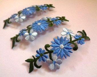 Embroidered Iron-On Floral Applique, Blue, x 3, For Romantic & Victorian Crafts