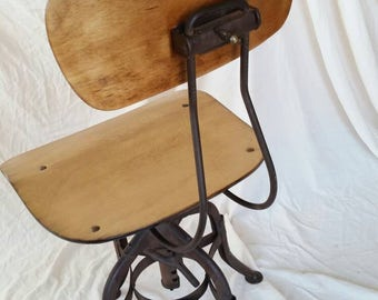 Industrial Toledo drafting chair ,  Toledo furniture company , adjustable industrial chair ,wood and metal chair , uhl steel furniture