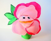 SALE Hand Puppet Toy Pink Rose Kids Birthday Gift Toy Eco Friendly Felt Roses Flower Tree Topper Holiday Toy Cloth Flower Anniversary