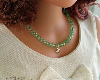 Green Quartz Girls Necklace With Star Sterling Silver Beaded Gemstone Children Girl Spring Jewelry Birthday Gift For Kids