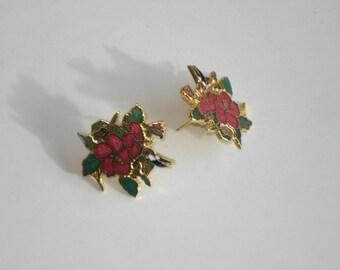 Vintage Earrings Red Enamel Flowers - Pierced - Fashion Jewelry 1980s