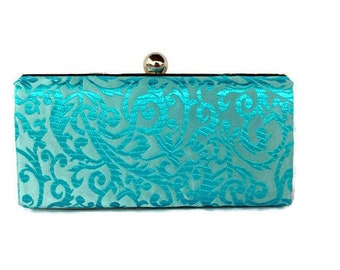 Turquoise minaudiere clutch/Custom made box purse/ Wedding clutch/ Modern purse/Evening  clutch purse/ Gift for her/ Clamshell  clutch purse