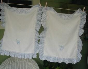 Gorgeous Vintage Pillow Shams, Custom Made, Monogrammed, Embroidered Eyelet Ruffled Edges