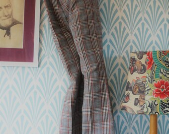 70s Siclat flared pants grey-orange-red plaid - Teenager size EU146 / Women EU34