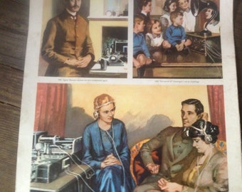 Scottish School Poster 1950s Mid Century, Invention of Wirleless Communication, Educational, , Industrial