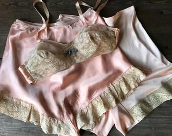 1930s Peach Silk Lingerie, Teddy, Slip, Panties, Bra, Camiknickers, Bridal Honeymoon, Size Small